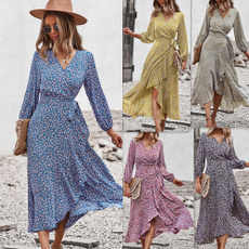 Summer, printeddres, long dress, Spring