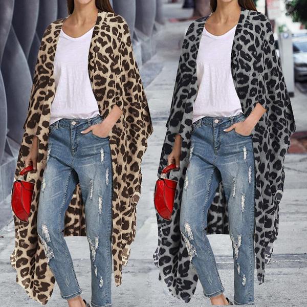 Plus Size, asymmetric, Loose, Leopard
