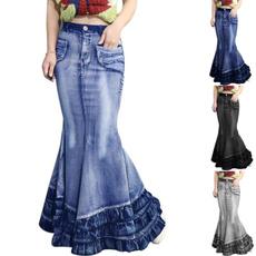 fishtailskirt, Jeans, long skirt, stretchwaistskirt