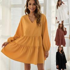 sleeve v-neck, clubbingdresse, loosedresse, Long Sleeve Dresses