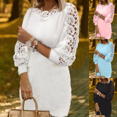 autumnwinter, Plus Size, Lace, Long Sleeve