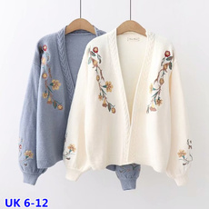 cute, Fashion, floralsweater, puffsleevesweater