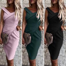 Sleeveless dress, Fashion, Necks, soliddres