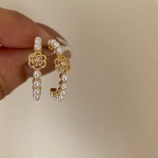 Hoop Earring, Jewelry, Stud Earring, camellia
