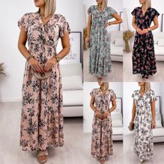 printeddres, long dress, Dress, V Neckdress