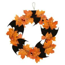 leaves, Decor, Door, Christmas