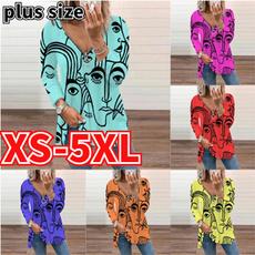 Plus Size, Long Sleeve, printed shirts, V-neck