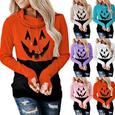 Fashion, pumpkinprint, Halloween, highcollar