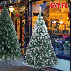 christmastreeprelit, Christmas, lights, flockedchristmastree