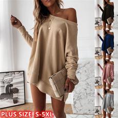 Plus Size, Long Sleeve, Dress, Tops