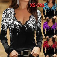 shirtsforwomen, Deep V-Neck, womens top, Long Sleeve