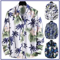 Slim Fit, Shirt, Hawaiian, Long Sleeve