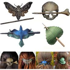 fashionhairpin, leaf, Pins, skull