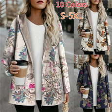 Casual Jackets, hooded, Floral print, Winter