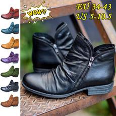 Plus Size, Booties, PU Leather, Women's Fashion