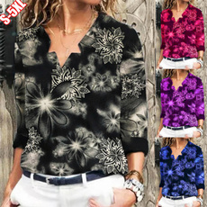 Plus Size, Long Sleeve, printed shirts, Plus size top