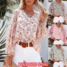 shirtsforwomen, Plus Size, vnecktop, printtop