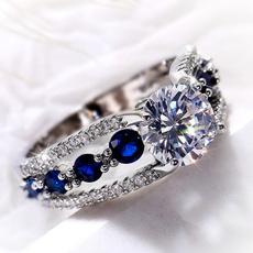 Sterling, Blues, whitegoldring, 925 silver rings