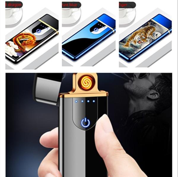 usbrechargeablelighter, Gifts, environmentallyfriendlycigarettelighter, touchfingerprintinductionrechargeablelighter