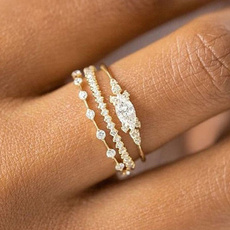 stackable, Crystal, Engagement Wedding Ring Set, lover gifts