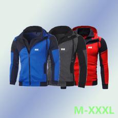Casual Jackets, colorblockdoublezipperjacket, baseballcoat, printedoutwear