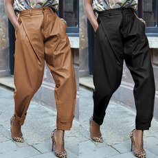 harem, solidpant, high waist, Casual pants