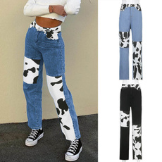 trousers, Stitching, cow, Casual pants
