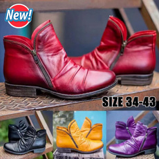 ankle boots, zippersboot, Plus Size, leather