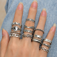 leaf, Jewelry, Silver Ring, ringset
