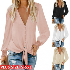 shirtsforwomen, Plus Size, Lace, vnecktop