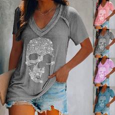 blouse, Deep V-Neck, Plus Size, Cotton Shirt
