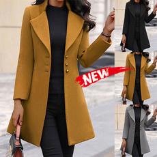 woolen, lapel, Overcoat, Long sleeved