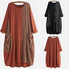 dressesforwomen, Autumn Dress, Sleeve, stripedres