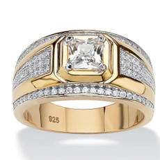 Sterling, crystal ring, zirconring, gold