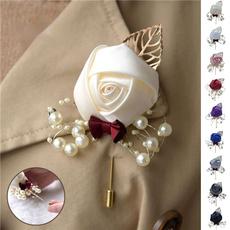 boutonniere, leaf, Bride, Rose