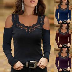 blouse, Plus Size, Lace, coldshouldshirt