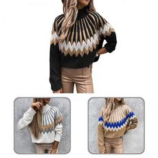 Women Sweater, rhombuspatternsweater, turtleneck, Sweaters