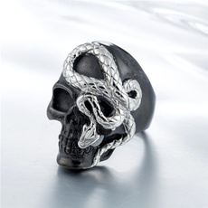 Goth, hip hop jewelry, Skeleton, snakering
