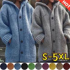 Fashion, knittedjacket, sweater coat, hoodedcardigan