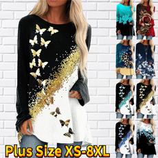butterfly, Plus Size, printed shirts, Women's Fashion