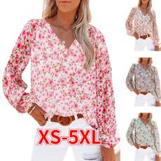 Plus Size, chiffon, printed shirts, V-neck
