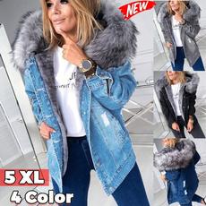 Plus Size, Long Sleeve, fur collar, Denim