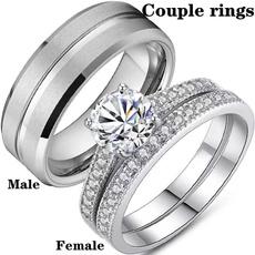 White Gold, Sterling, Engagement Wedding Ring Set, wedding ring
