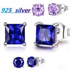 Cubic Zirconia, s925sterlingsilverearring, Gemstone Earrings, bluesapphireearring