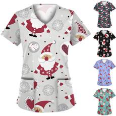 workinguniformwithpocket, womenschristmasworkwear, christmasprinteduniform, Pocket