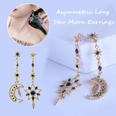 moonearring, Women, rhinestonesearring, Dangle Earring