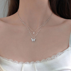 Sterling, butterfly, Chain Necklace, Fashion