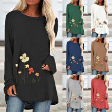 blouse, Plus Size, Floral print, Spring/Autumn