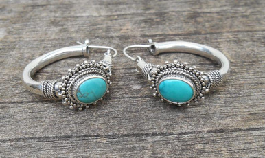 Sterling, Turquoise, sterling silver, Earring
