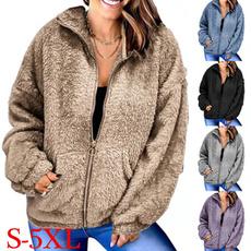 casual coat, woolen, Fleece, Plus Size